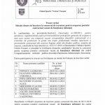 Proces verbal Selecție dosare de înscriere la concursul de recrutare pentru ocuparea postului contractual vacant de funcționar debutant
